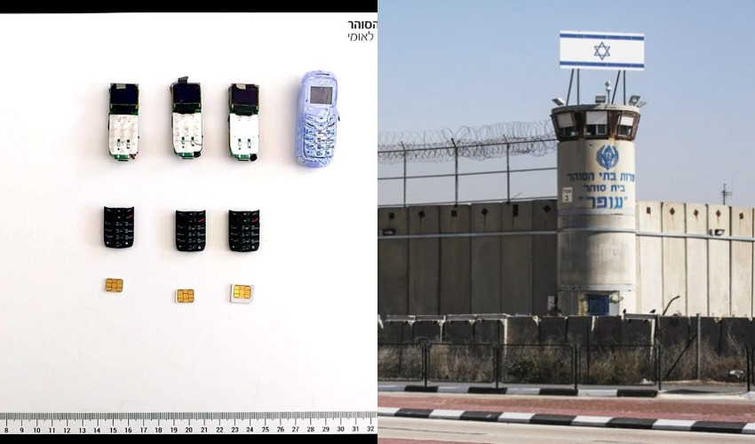 """כלא עופר, פלאפונים (צילומים: מגד גוזני, דוברות שב""""ס)"""