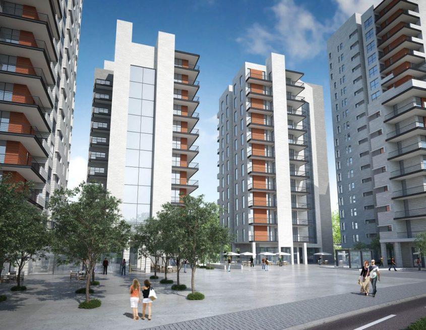 """המרכז המסחרי - הגבעה הצרפתית (הדמיה: משרד אדריכלים """"גוגנהיים בלוך אדריכלים ומתכנני ערים"""")"""