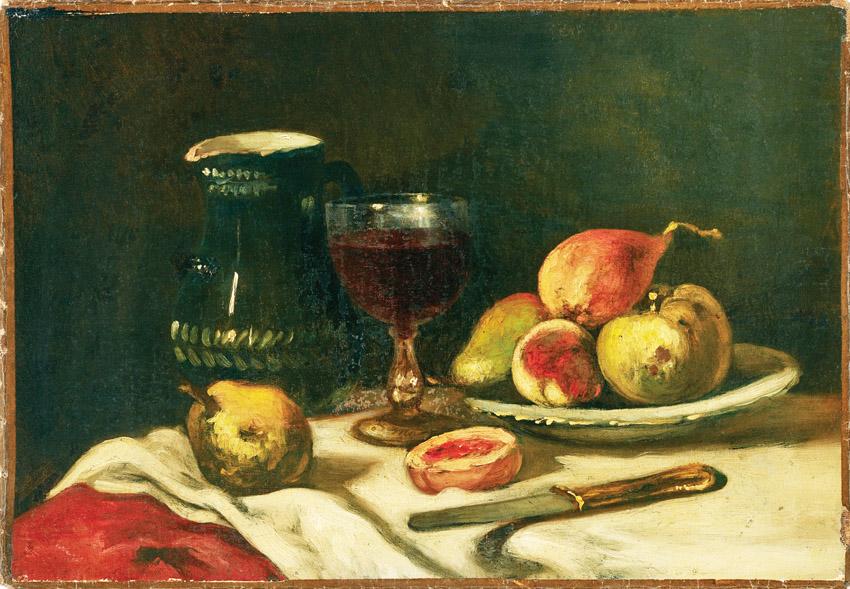 """מתוך התערוכה """"בחירות גורליות"""" (צילום: ציור הפירות - אדואר מאנה, צרפתי, 1883-1832, טבע דומם עם כוס ופירות, לא מתוארך)"""