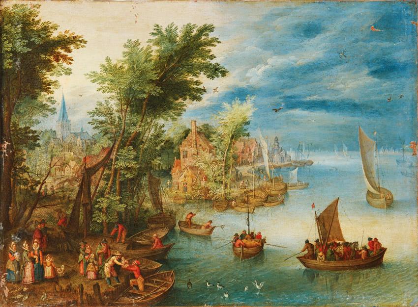 """מתוך התערוכה """"בחירות גורליות"""" (צילום: לציור הנוף - הבן ברויגל יאן, שנות ה-30, נהר נוף, 1678-1601, פלמי, המאה ה-17)"""