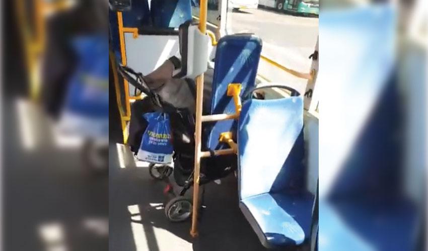 מתוך הסרטון של התינוק שנשכח באוטובוס (צילום: נהג האוטובוס - רץ ברשת)
