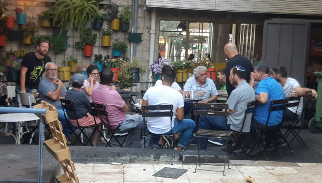 ועד העסקים בשוק מחנה יהודה, הערב (צילום: פרטי)