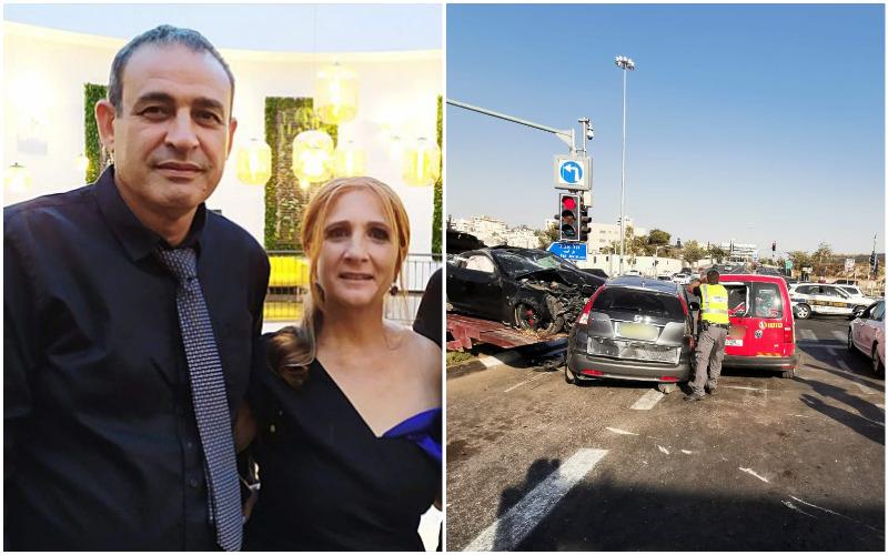 """שוקי ז""""ל וענת כהן, זירת התאונה בגילה (צילומים: באדיבות המשפחה, דוברות המשטרה)"""