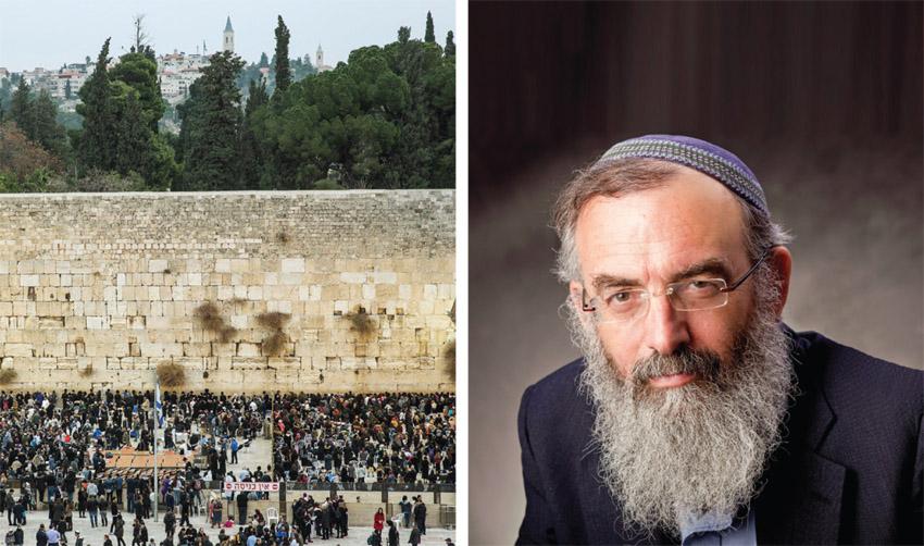 """הרב דוד סתיו, הכותל המערבי (צילומים: יח""""צ, אמיל סלמן)"""