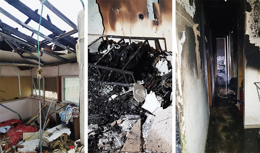 הדירה שנשרפה במדרחוב בן יהודה (צילומים: פרטי, כבאות והצלה ירושלים)