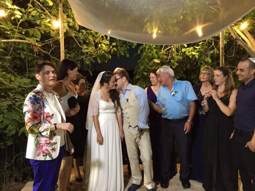 אפרת ויובל לסטר קידר, ביום חתונתם (צילום: פרטי)