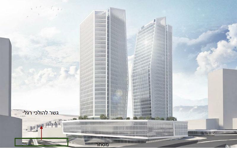 הדמיית תוכנית המגדלים בגן הטכנולוגי במלחה (צילום הדמיה: ליסקי מור סיון אדריכלים ומתכנני ערים)
