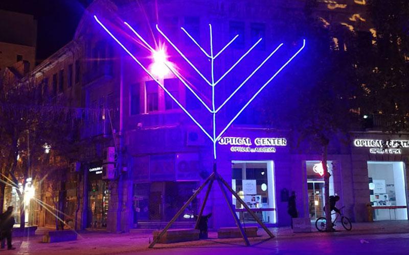 חנוכיה במרכז העיר ירושלים (צילום דשה אברמנקו)