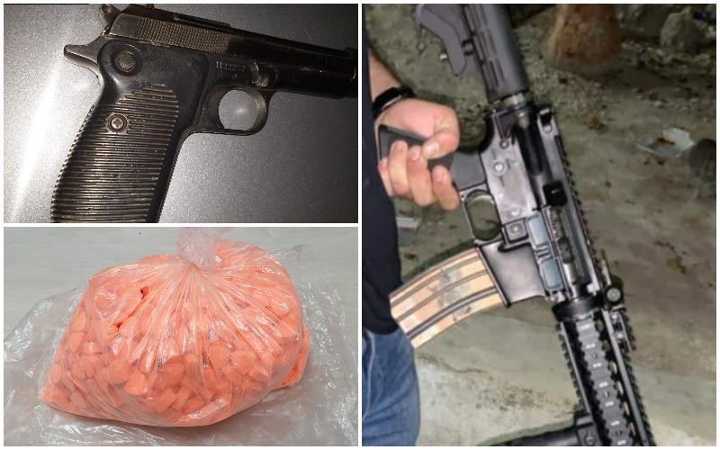כלי הנשק והסמים שנתפסו הלילה בפשיטה במזרח העיר (צילומים: דוברות המשטרה)