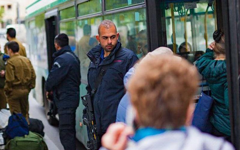 אבטחת תחבורה ציבורית בירושלים - (צילום: מתוך דף הפייסבוק של היחידה לאבטחת תחבורה ציבורית)