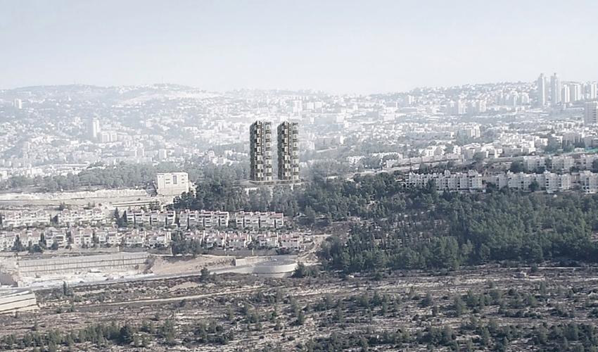 תוכנית הקמת שני מגדלי המגורים ברחוב המרגלית (הדמיה: אדריכל עמי שנער)