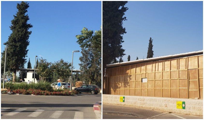(מימין) בית הכנסת שהוקם ללא היתר, המבנה לאחר ההריסה (צילומים: יפעת לוי, פרטי)