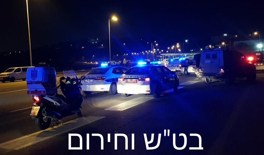 """זירת הירי בגנב הרכב על ידי המשטרה (צילום: בט""""ש וחירום)"""