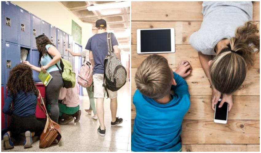 תלמידים במסכים, תלמידים בבית ספר (צילומים: אילוסטרציה shutterstock.com/patat, מיכל פתאל)