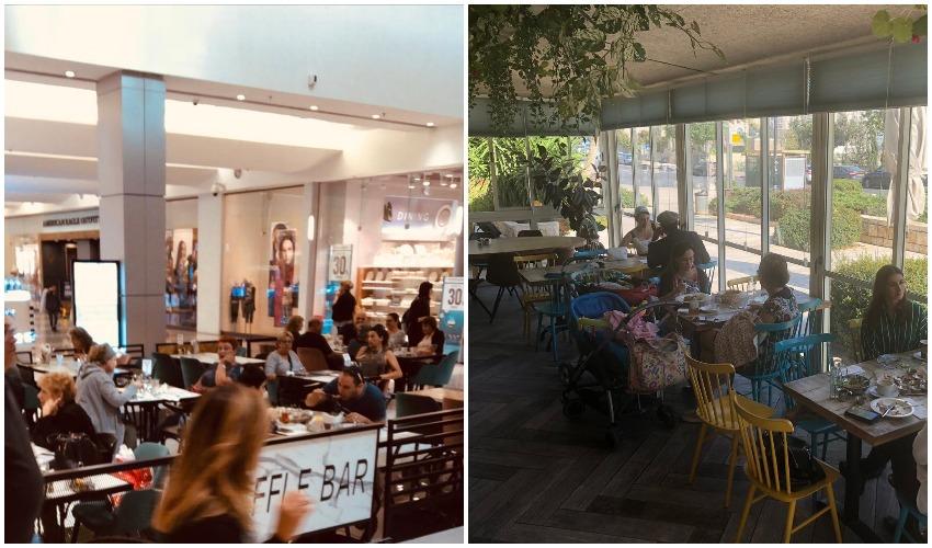 קפה אביחיל במלחה, ופל בר בקניון הדר (צילומים: רון ירקוני)