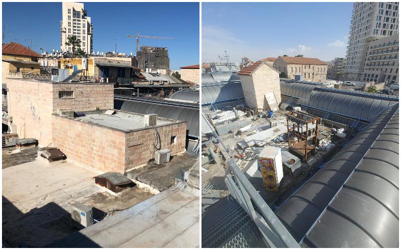 גגות השוק לפני ואחרי הניקיון (צילומים: יריב גורי)