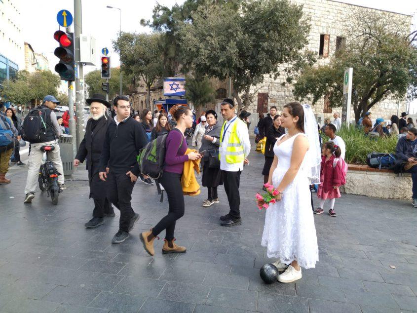 המחאה בירושלים נגד תופעת מסורבות הגט (צילום: דוברות מבוי סתום)