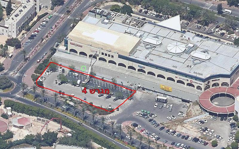 באדום - השטח שעליו יוקם בית המלון הראשון במעלה אדומים (צילום: עיריית מעלה אדומים)