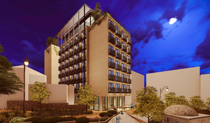 """הדמיה של מלון """"בן סירא"""" (הדמיה: פייגין אדריכלים בע""""מ)"""