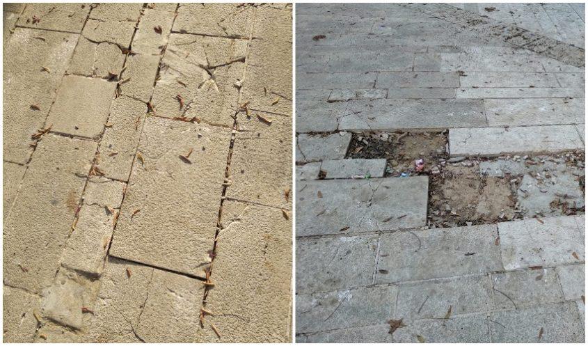 מפגע המרצפות - לפני ואחרי בטיילת ברעם (צילום: אבי חדד)