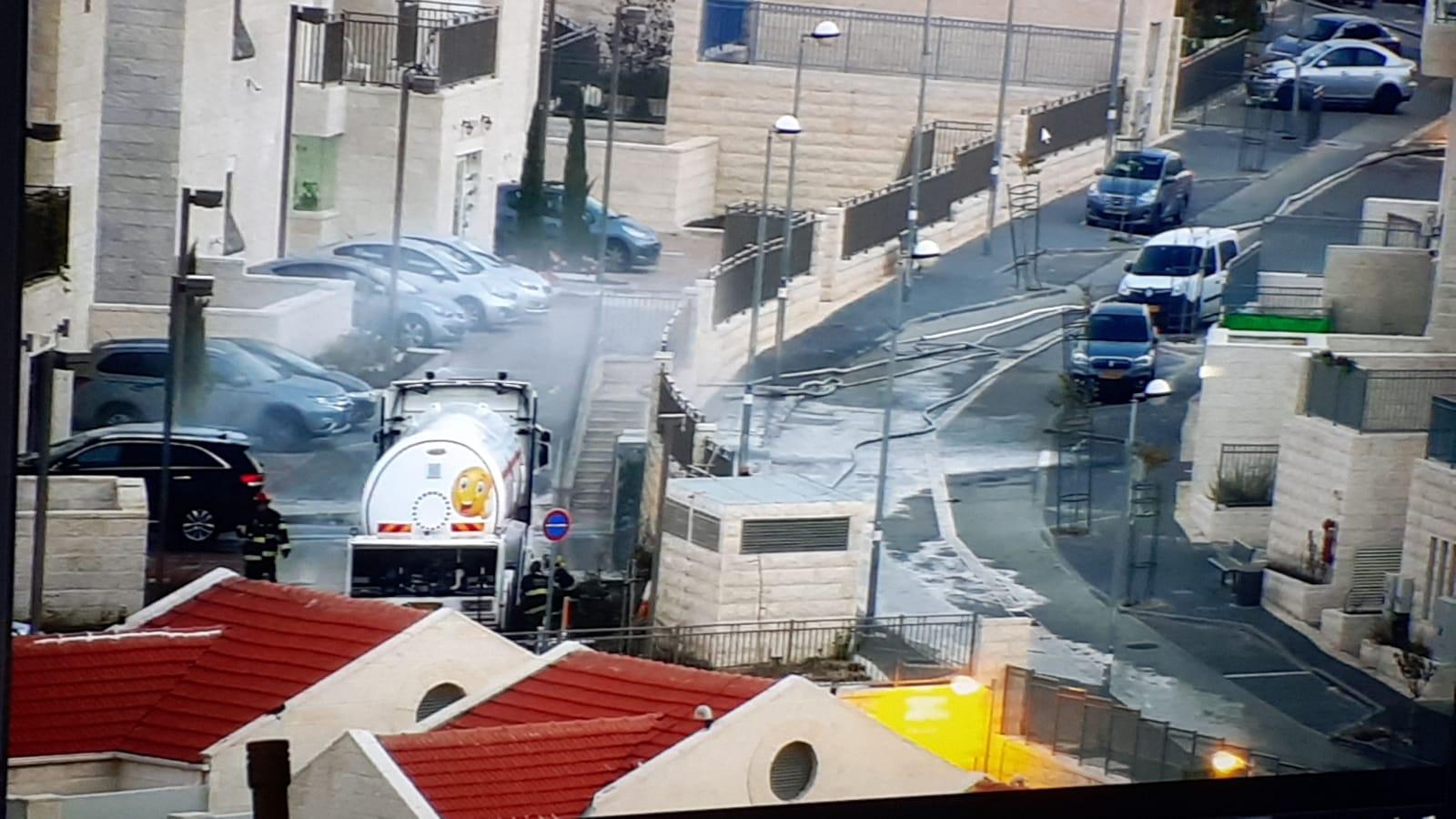 דליפת גז בפסגת זאב (צילום: כבאות והצלה ירושלים)