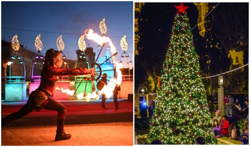 """חג המולד בימק""""א בשנה שעברה, מופע אש ליד חנוכיית הענק בכיכר החתולות (צילומים: אינטלקט, באדיבות ימק""""א הבינלאומית ירושלים, אור דוגה)"""