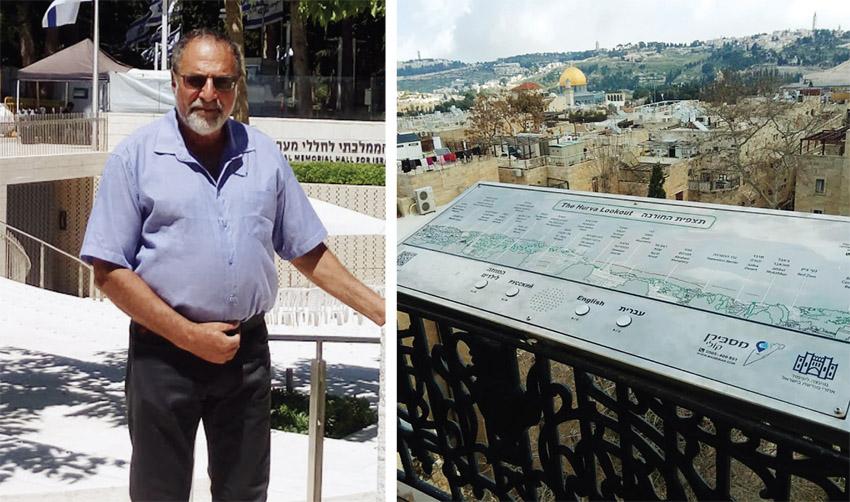 """המסבירן הקולי בתצפית של בית הכנסת החורבה ברובע היהודי, אבי זעירא (צילומים: ד""""ר אדם אקרמן)"""