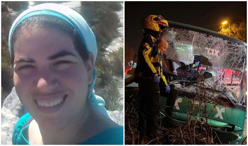 """זירת תאונת האוטובוס הקטלנית, היילי ולנברג ז""""ל (צילומים: תיעוד מבצעי מד""""א, מתוך פייסבוק)"""
