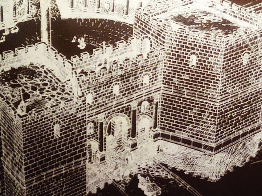 """השער הרומי הדמיית השער והמגדלים לשני צדיו (צילום: ד""""ר אדם אקרמן)"""