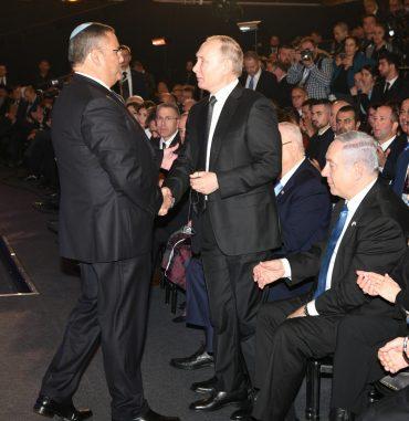 """נשיא רוסיה ולדימיר פוטין, ראש העיר משה ליאון (צילום: לע""""מ)"""