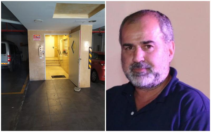 """עמוס סער ז""""ל, זירת הרצח של עמוס סער ז""""ל בבניין מגוריו (צילומים: דוברות בתי המשפט, שלומי הלר)"""