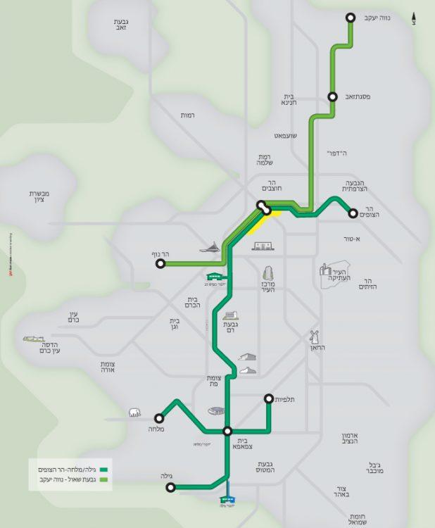 מפת הקו הירוק של הרכבת הקלה - באדיבות צוות תוכנית אב לתחבורה ירושלים