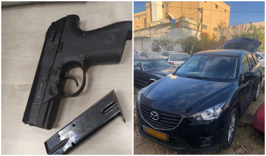 רכב מסוג מאזדה ואקדח שקנה הסוכן הסמוי מהחשודים (צילום: דוברות המשטרה)