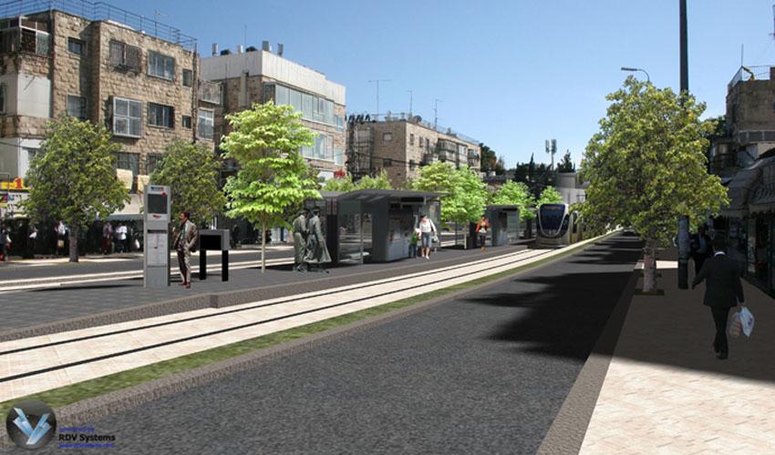 הדמיית הקו הירוק של הרכבת הקלה בצומת בר אילן (צילום הדמיה: באדיבות צוות תוכנית אב לתחבורה ירושלים)