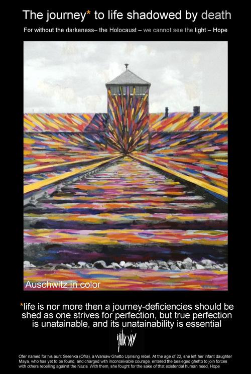 The Auschwitz journey in Hebrew (design: Ofer Aloni)
