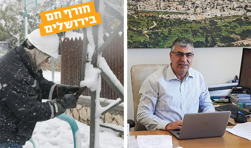 משה כהן, עובד של חברת החשמל בזמן סופת השלגים בשנת 2013 (צילומים: יעל בהרי חברת החשמל)