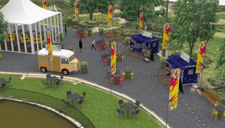 הדמיית מתחם האוכל החדש בגן הוורדים (צילום הדמיה: באדיבות הרשות לפיתוח ירושלים)