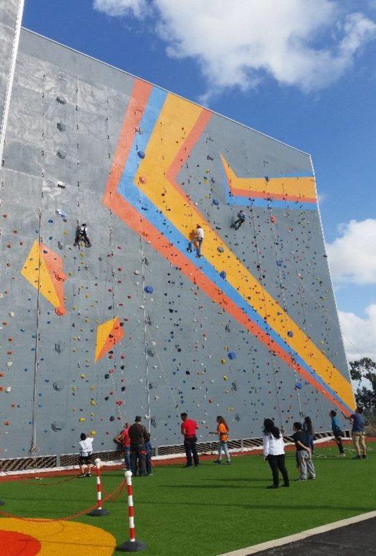הדמיית קיר הטיפוס שיוקם בגן הפעמון (צילום הדמיה: באדיבות אגף הספורט)
