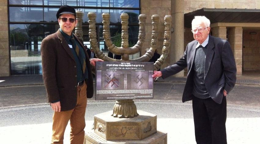 פרופ' ישראל גוטמן ועפר אלוני ביום השואה והגבורה בכנסת (צילום: פרטי)