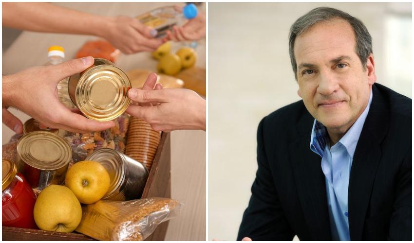 """הרב יחיאל אקשטיין ז""""ל, חבילות מזון (צילומים: יוסי צבקר, מתוך דף הפייסבוק של קרן אקשטיין)"""