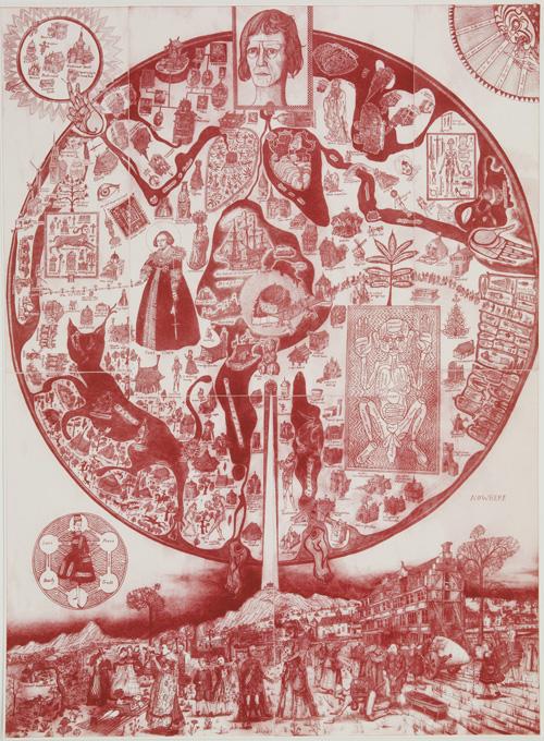 מפת שום מקום (אדום) יצירה של גרייסון פרי (צילום: באדיבות מוזיאון ישראל)