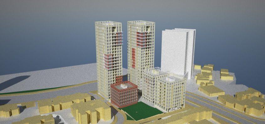 תוכנית מגדלים בצומת פת (הדמיה: משרד בריידמן - אגמון אדריכלים)