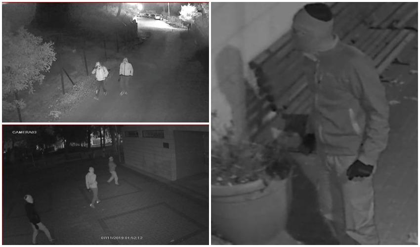 תיעוד מתוך מצלמות הבאטחה של היישוב של חלק מהחשודים בפריצה