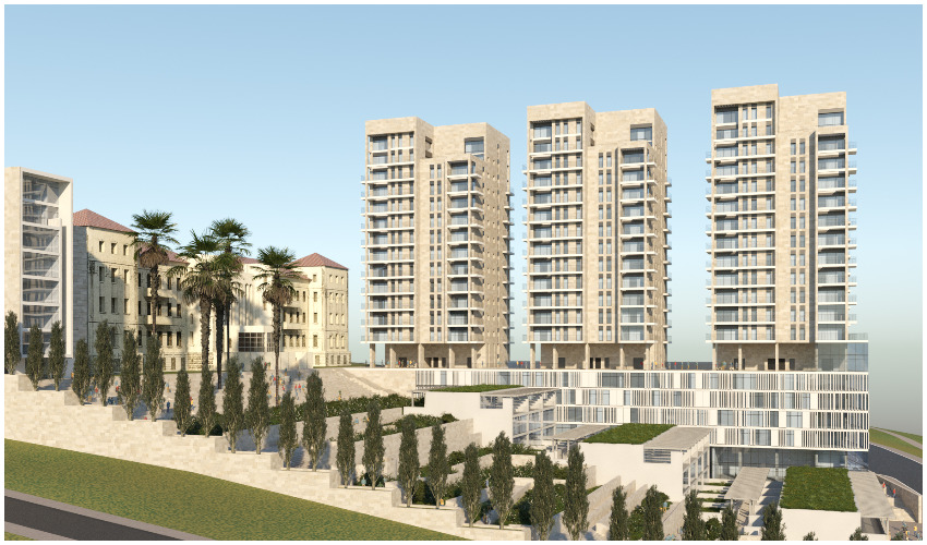 הדמיית מתחם המגורים במתחם בית היתומים ההיסטורי 'דיסקין' בגבעת שאול (צילום הדמיה: רוזנפלד ארנס אדריכלים)