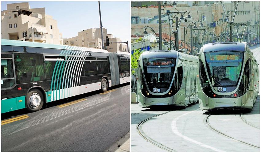 הרכבת הקלה במרכז העיר, אוטובוס ברחוב דרך חברון (צילומים: אוריה תדמור, מיכל פתאל)