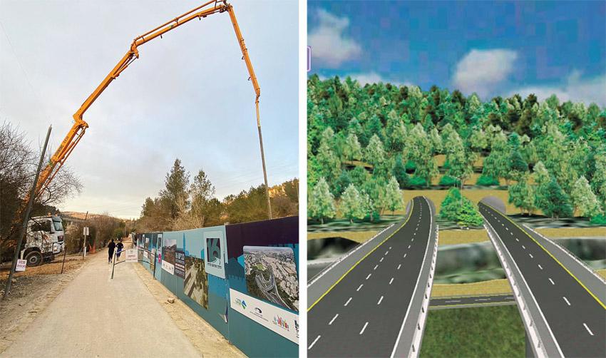 הדמיה של כביש 16, העבודות להקמת הכביש (צילומים: באדיבות נתיבי ישראל, לילך שי)