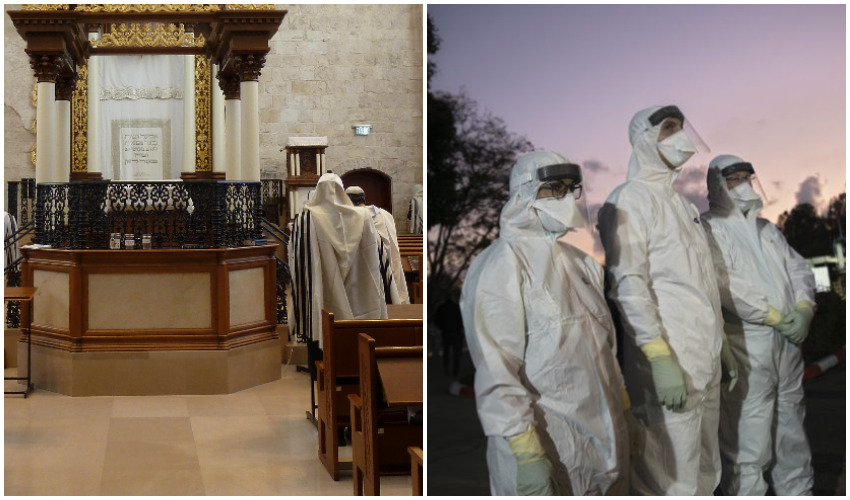 מיגון מפני נגיף הקורונה, בית כנסת (צילומים: מוטי מילרוד, Djampa-מתוך ויקיפדיה)