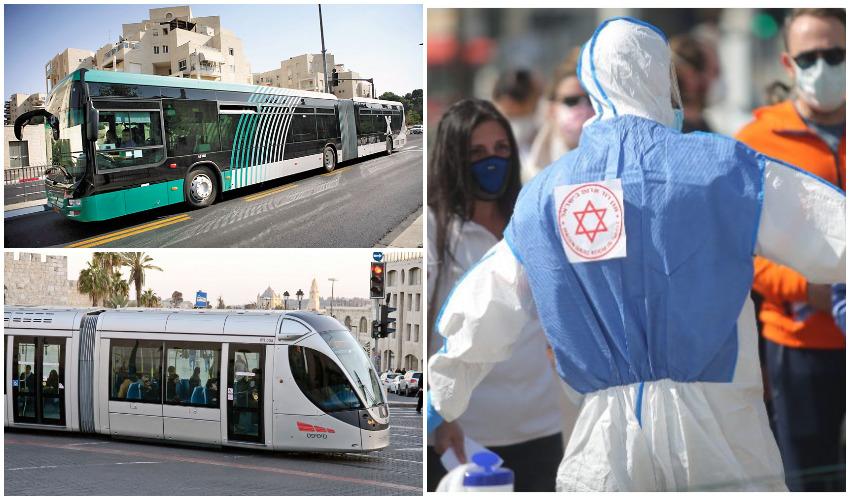 איש רפואה ממוגן מפני הקורונה, הרכבת הקלה, אוטובוס אגד (צילומים: אוהד צויגנברג, מיכל פתאל, עופר וקנין)