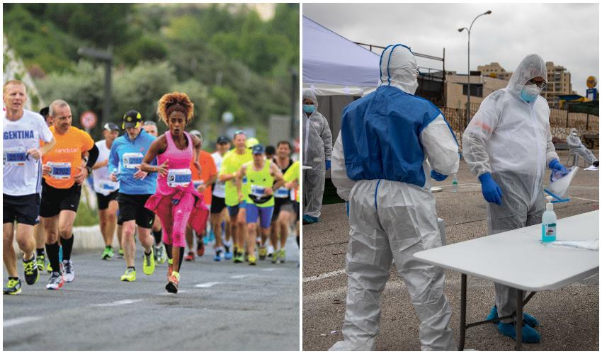 מיגון מפני נגיף הקורונה, מרתון ירושלים (צילומים: אוהד צויגנברג, פלאש 90)