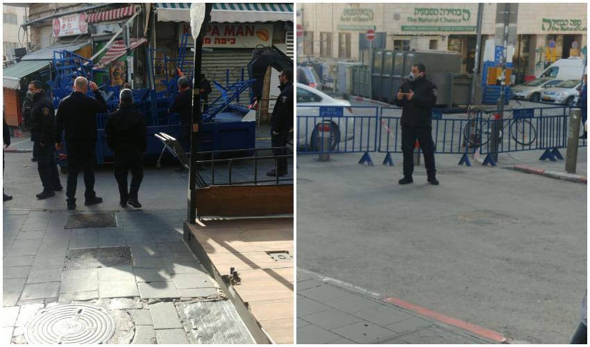 משטרת ירושלים מציבה מחסומים בכניסות לשוק מחנה יהודה (צילומים: יהלום אוחיון)